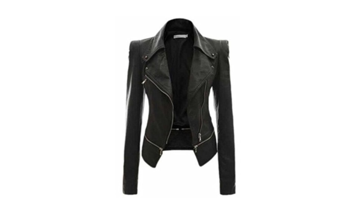 Women's Fashion Casual Fall Winter Zip Faux Leather Jackets