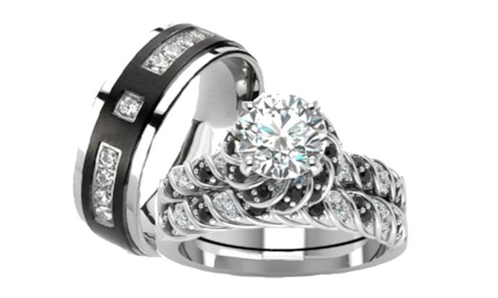 His Hers Wedding Ring Set Sterling Silver Titanium Wedding Rings