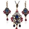 Vintage Antique Gold Hollow Flower Rhinestone Jewelry Set for Women