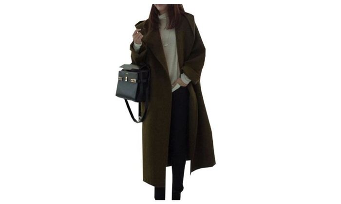 Women's Casual Solid Open Front Insulation Wool Coat