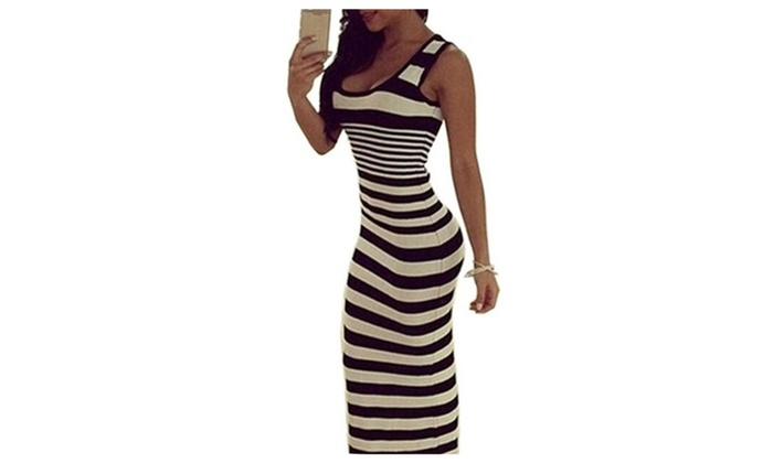 Women Striped Tank Long Dress  Femininas Women Sexy  Dresses