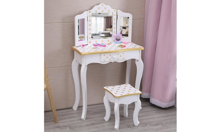 Kids Vanity Table and Stool Set with 3 Mirrors, Pretend Play Princes