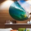 Ocean Wave at Sunset' Disc Photography Circle Metal Wall Art