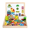 Drawing Writing Board Magnetic Puzzle Double Easel Kids Wooden Toy