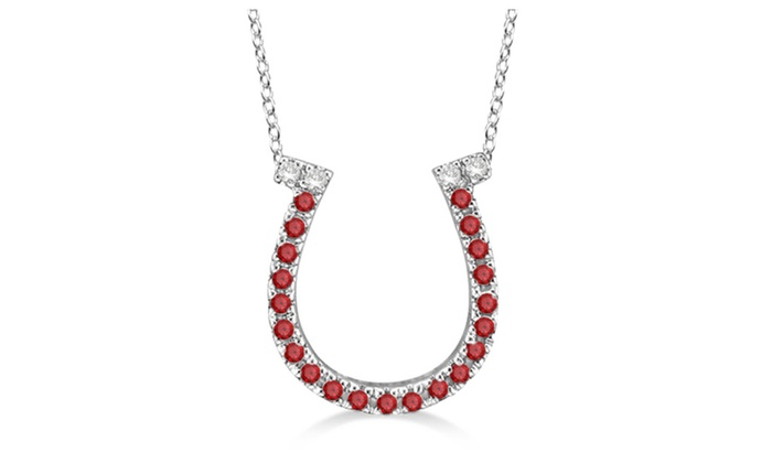Up to 43 off on 14k white gold 025ct garne groupon goods 14k white gold 025ct garnet diamond horseshoe pendant necklace aloadofball Image collections