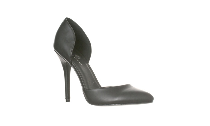Riverberry 'Nora' Pointed Toe D'Orsay Pump Heels, Black PU