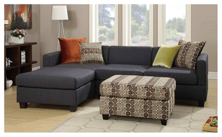 Antalya 2 pieces Sectional Sofa covered in Blended Linen with Ottoman - Slate Black 2ed5bbbe-da94-4328-9adf-e609759f0089