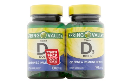 Spring Valley Vitamin D3 Dietary Supplement Softgels (2 Pack)