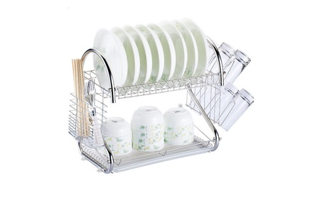 2-Tier Multi-function Stainless Steel Dish Drying Rack, Cup Drainer 4f5a407f-66fd-4d50-9b5e-37f686f3a086