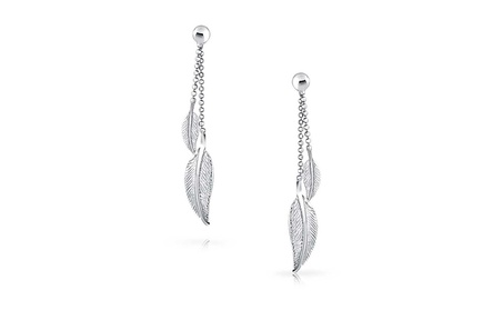 Bling Jewelry 925 Silver Beaded Ball Chain Dangle Feather Earrings a9aef6c1-cdf2-49b0-9179-cef7108e916b