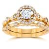 .60ct Halo Diamond Engagement Ring Set 14k Yellow Gold