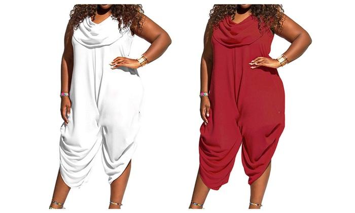 e7ed070ada70 Women Plus Size Solid Color Sleeveless Shawl Collar Jumpsuits