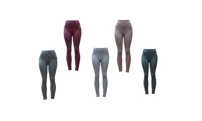 Riva USA Women's Fleece Lined Seamless Leggings FL-1542 (5 pack)