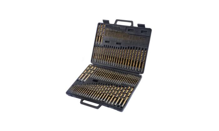 High Speed Steel Titanium Drill Bit Set Metal w/ Index Carry Case - 115 Pcs