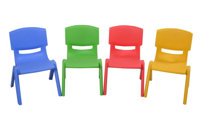 Set Of 4 Kids Plastic Chairs Stackable Play And Learn Kid Furniture