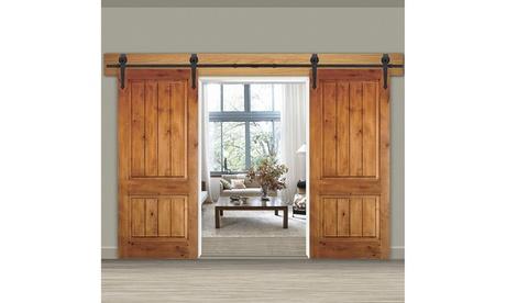 ZENY 12FT Sliding Barn Door Roller Closet Hardware Kit, Double Door Track Set