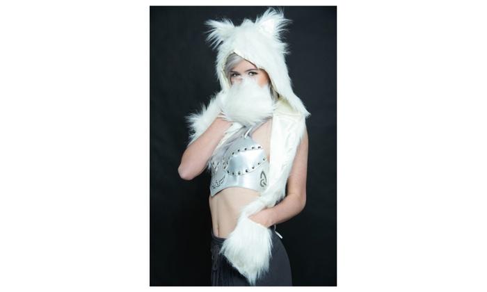 Warm Soft Animal Plush Hoodie with Paw Pockets Winter Women Accessory