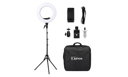 """Kshioe 18"""" LED Video Ring Lights and 2m Light Stands US Standard Silver"""