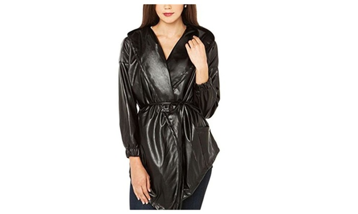 Women Windproof Pu Long Sleeve Hoodies Coat Jacket - Black / XX-Large