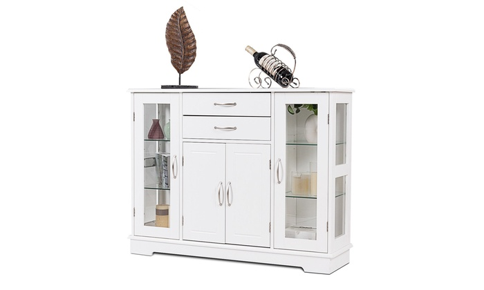 Buffet Storage Cabinet Console Cupboard W Glass Door Drawers Kitchen Dining Room