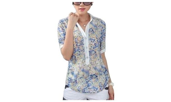 Women's Without Hood Scalloped Hem Slim Fit Chiffon Blouse