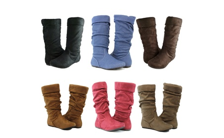 Women Cute Slouch Boots Comfortable Folding Design Fashion Mid Calf 1ea5f166-f670-4122-87f8-a731e08dcbf7