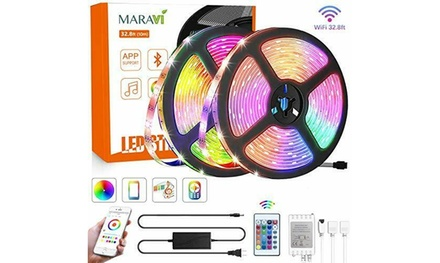 LED Strip Lights,32.8ft/10M Waterproof RGB Bluetooth with Remote & Control Box