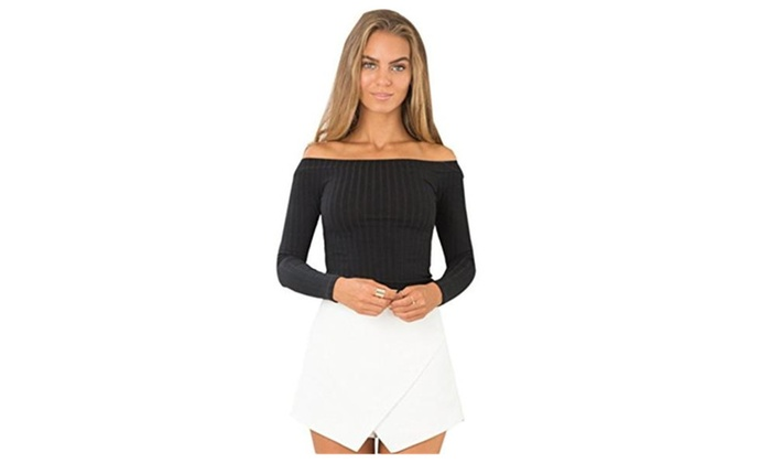 Womens Ribbed Knit Long Sleeve Off Shoulder Blouse Crop Tops