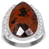 Orchid Jewelry 925 Sterling Silver 6-2/3 Carat Mahogany Obsidian Ring