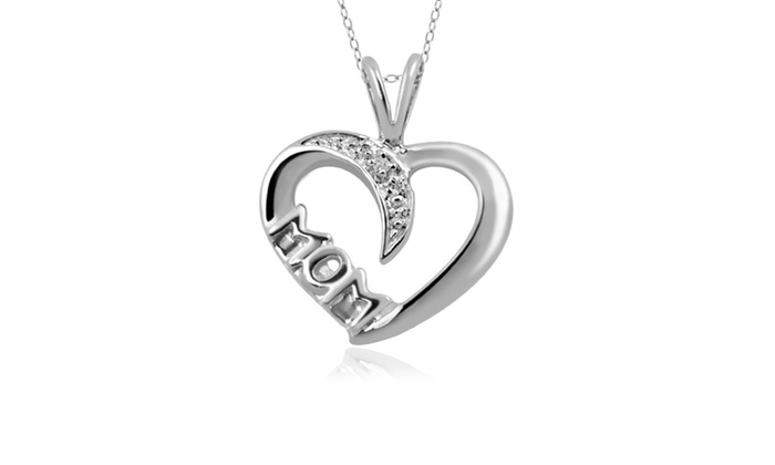 "Groupon Goods: Jewelonfire Accent Diamond ""Mom"" Heart Pendant in SS 21859"