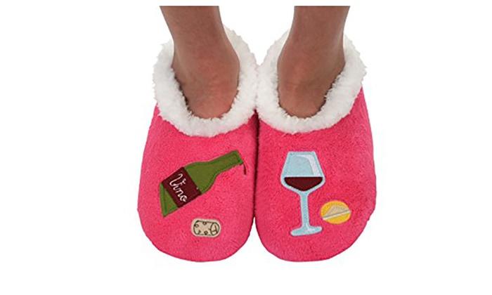 33d043ed0fc Snoozies Womens Classic Splitz Applique Slipper Socks