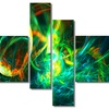 Fire Green - Large Abstract Wall Art - 63x32 - 4 Panels