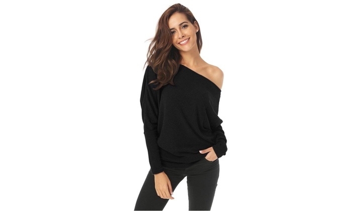 9c30e6fbca394 Oversize Women Off Shoulder Batwing Sleeve Knit Sweater Tops Lady Pullover