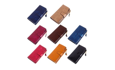 Leather Ladies Wallet Oil Wax Leather Multi-Card Bit Wallet 6595562d-2586-463d-b118-8989381dc677