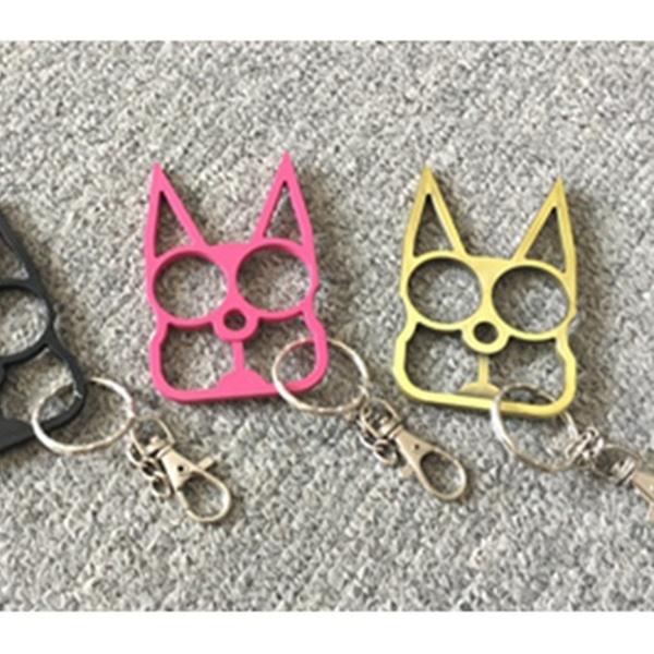 Classic Cat Self Defense Tools Keychain Metal Keyrings Girl Women