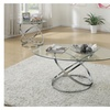 3pc Modern Glass Top Coffee End Table Set with Spinning Circles Base