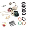 24-Piece Delicated Girls Pearl Lace Hair Rope Rhinestone Hairpins