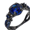 Stylish Blue Stone Black/Gold Color Flower Ring for Women