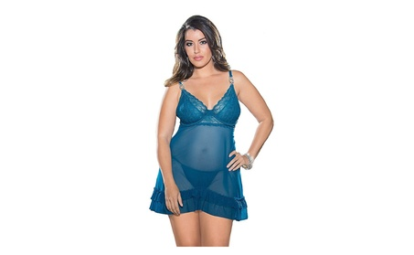 Plus Size Teal Jeweled Exotic Baby Doll Lingerie Set d3f864c8-da74-4502-93b3-a3d27dae3674