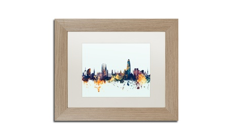 Michael Tompsett 'Barcelona Spain Skyline Blue' Birch Framed Art 667afb27-6458-4daf-8186-f0f3b1a5855e