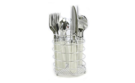 Gibson Sensations II 16 pc Plastic Handle Flatware with Wire Caddy photo