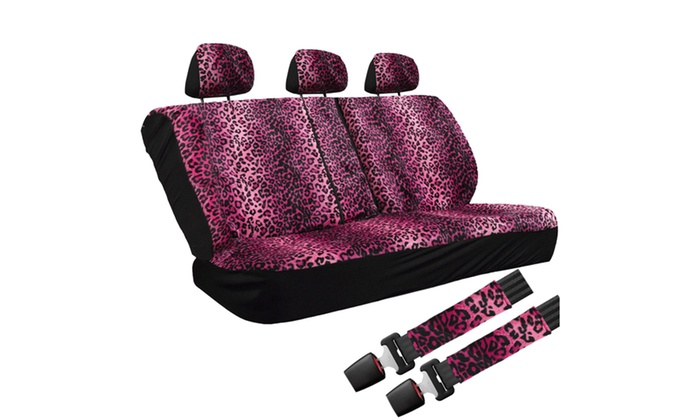velour leopard full car seat cover set livingsocial. Black Bedroom Furniture Sets. Home Design Ideas