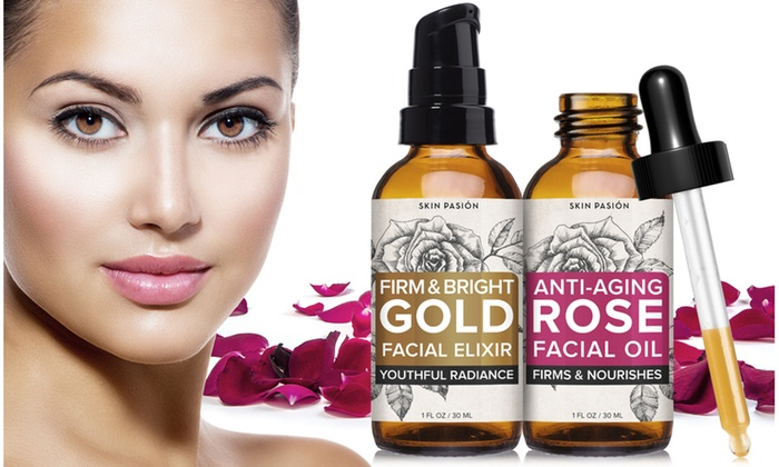 Rose and Gold Skin-Firming Facial Oil Set (2-Piece)