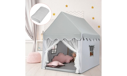 Costway Kids Play Tent Large Playhouse Children Play Castle Fairy Tent w/ Mat