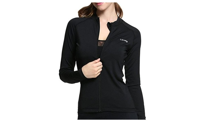 Womens Jacket Stretchable Full Zip-Up Activewear Workout Coat