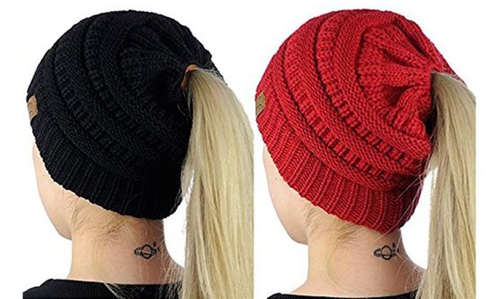 BeanieTail Cable Knit Bun Ponytail Beanie Hat Cap (2 Pack) ... ac444eea360