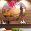 Red Autumn Tree in Carpathian' Landscape Photography Circle Metal Wall Art