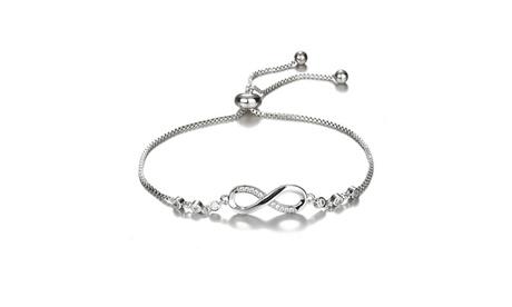 925 Sterling Silver Infinity Eight Crystal Diamond Link Chain Bracelet For Women