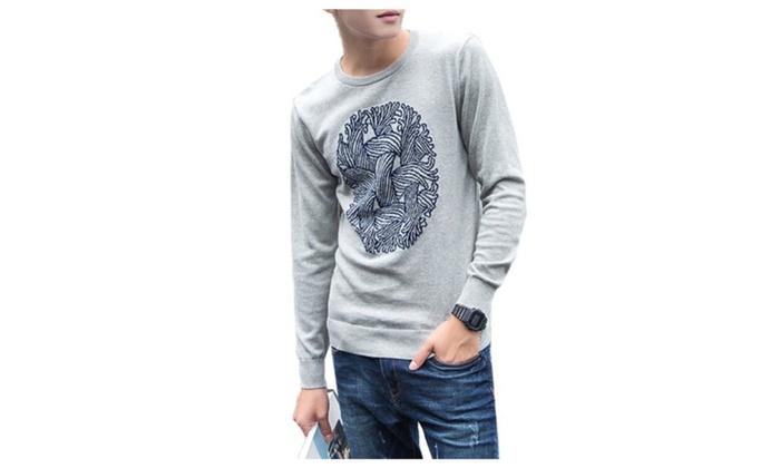 Men's Slim Fit Casual Simple Pullover Solid Pullovers