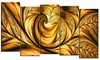 Golden Dream - Large Abstract Wall Art - 60x32 - 5 Panels